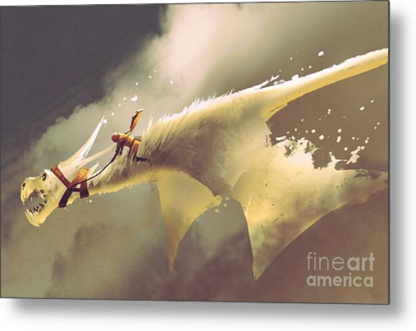 Man Riding On The White Flying Dragon Metal Print