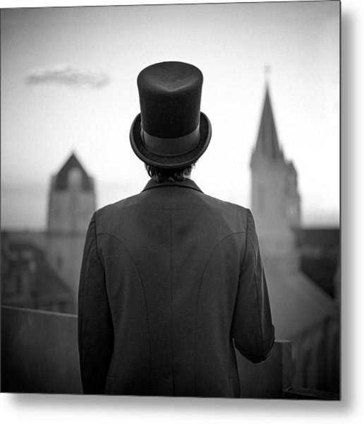 Man Standing Front Of Cathedral Metal Print