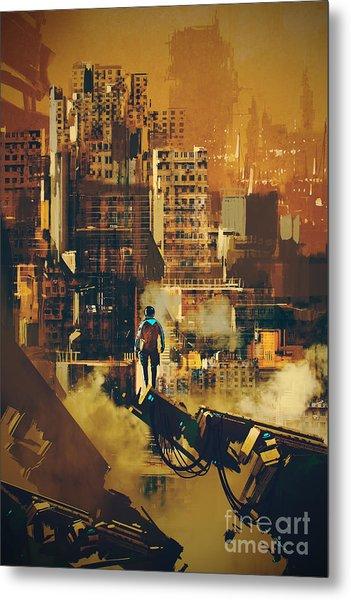 Man Standing On Futuristic Metal Print