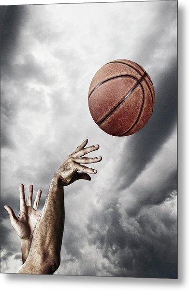 Man Throwing Basketball In Air Metal Print