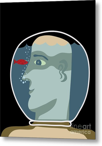Man With A Head Inside An Aquarium With Metal Print