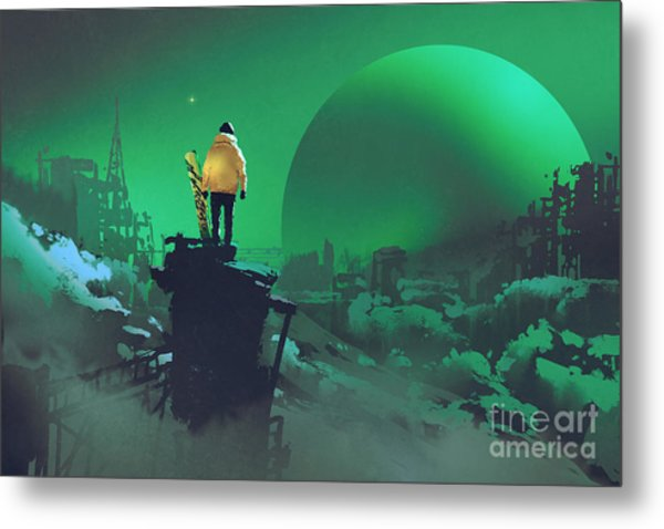 Man With A Snowboard Standing Against Metal Print