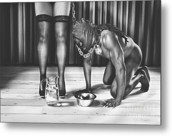 Man With Mask On His Knees Beside His Mistress Metal Print