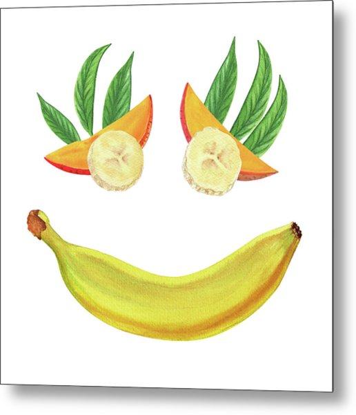 Mango Banana Smile Watercolor Food Illustration  Metal Print