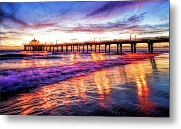Manhattan Beach Pier Sunset Metal Print