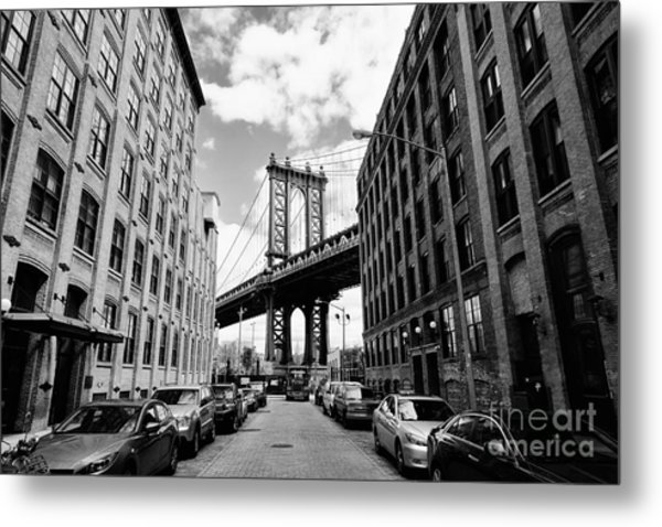 Manhattan Bridge Seen From A Brick Metal Print by Youproduction