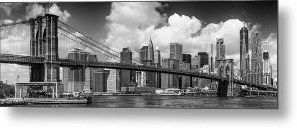 Manhattan Skyline And Brooklyn Bridge Panorama Monochrome Metal Print by Melanie Viola