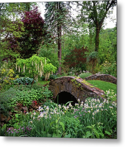 Mannacured Garden & Stone Bridge Metal Print