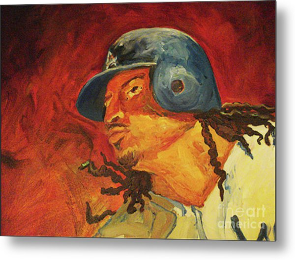 Metal Print featuring the painting Manny Ramirez by Donna Hall