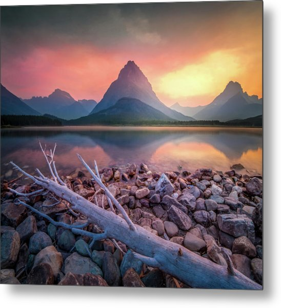 Many Glacier Sunset / Swiftcurrent Lake, Glacier National Park  Metal Print