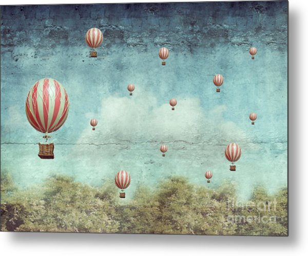 Many Hot Air Balloons Flying Over A Metal Print