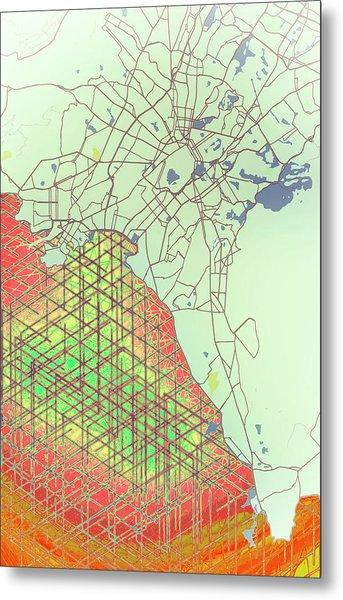 Map Of Athens Metal Print