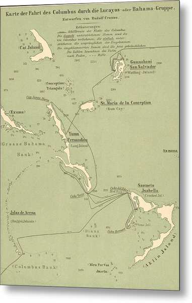 Map Of Columbus Route In Bahamas Metal Print by Kean Collection