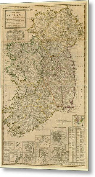 Map Of Ireland From 1714 Metal Print