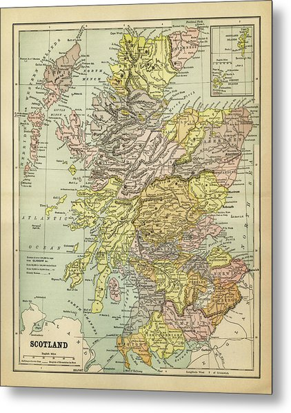Map Of Scotland 1883 Metal Print by Thepalmer