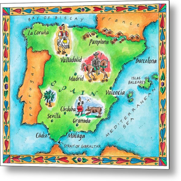 Map Of Spain Metal Print by Jennifer Thermes