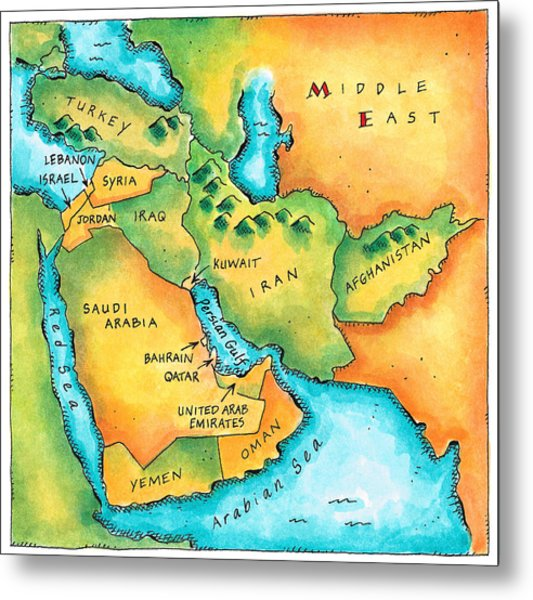 Map Of The Middle East Metal Print by Jennifer Thermes