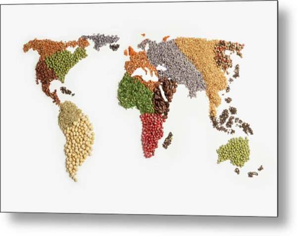 Map Of World Made Of Various Seeds Metal Print by Imagemore Co, Ltd.