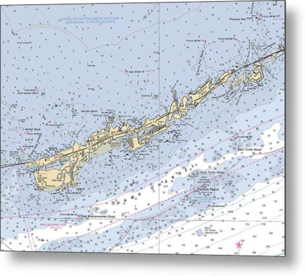 Marathon And Duck Keys Custom Noaa Nautical Chart Metal Print