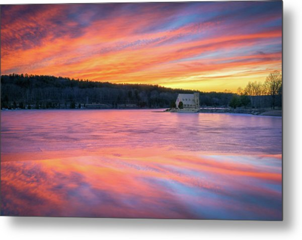 March Sunset At The Old Stone Church Metal Print