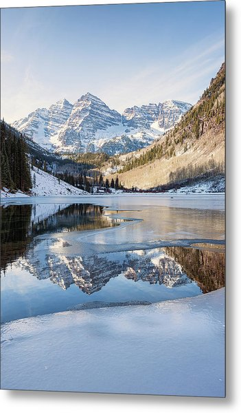 Maroon Bells Reflection Winter Metal Print