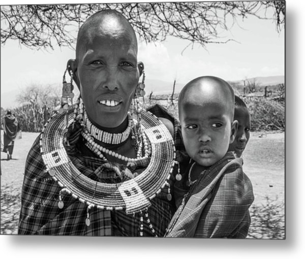 Masaai Mother And Child Metal Print