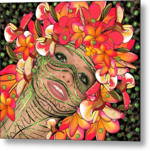 Mask Freckles And Flowers Metal Print