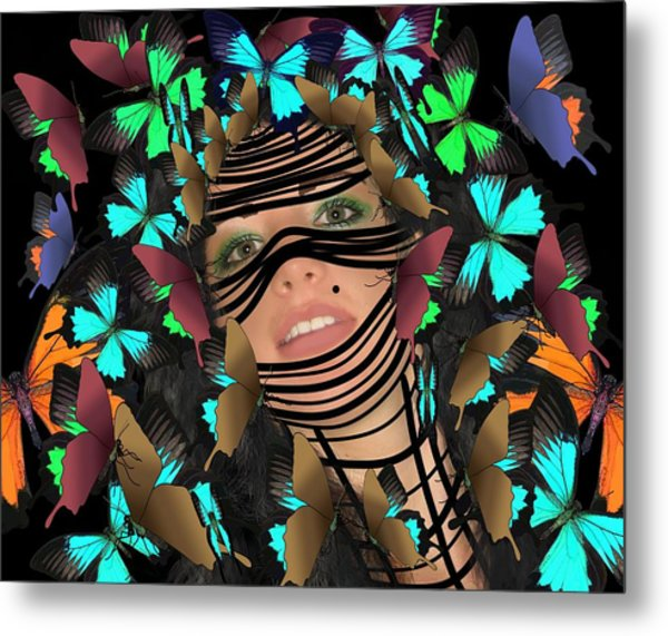 Mask Of Butterflies And Bondage Metal Print