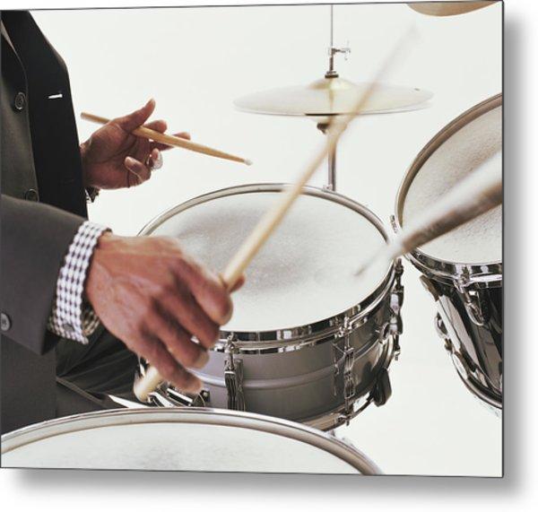 Mature Man Playing Drums, Close-up Of Metal Print