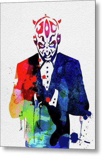 Maul In A Suite Watercolor Metal Print