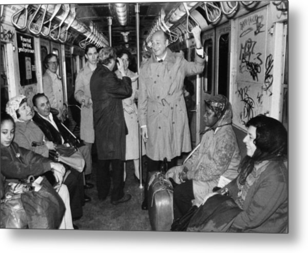 Mayor Ed Koch Rides The Subway Metal Print by New York Daily News Archive
