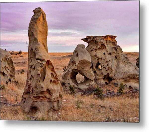 Medicine Rocks Sandstone Metal Print by Leland D Howard