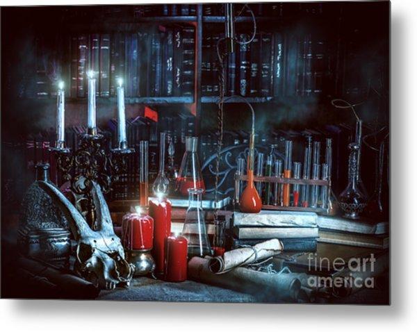 Medieval Alchemist Laboratory Metal Print