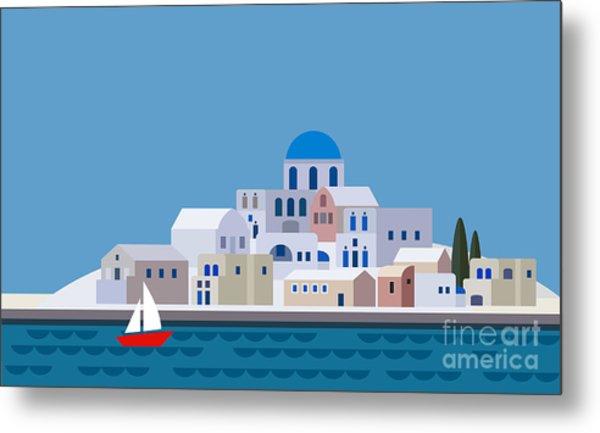 Mediterranean Landscape By Sea. Greek Metal Print
