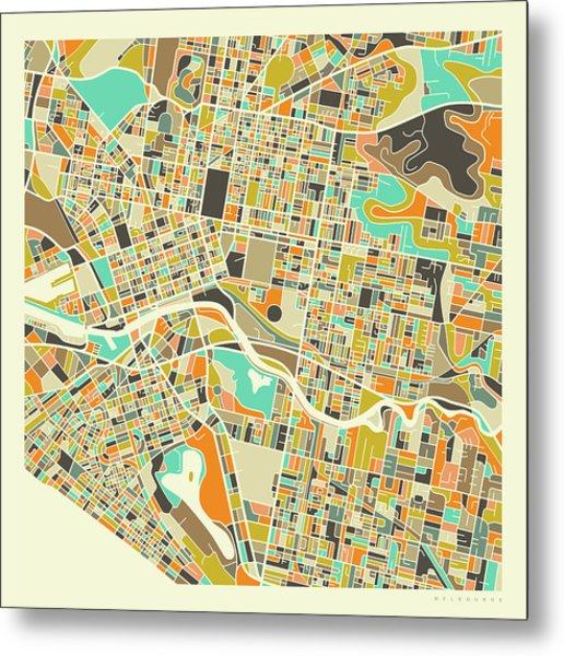 Melbourne Map 1 Metal Print