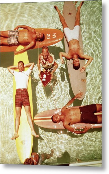 Men On Surfboards In Pool Sipping Drinks Metal Print