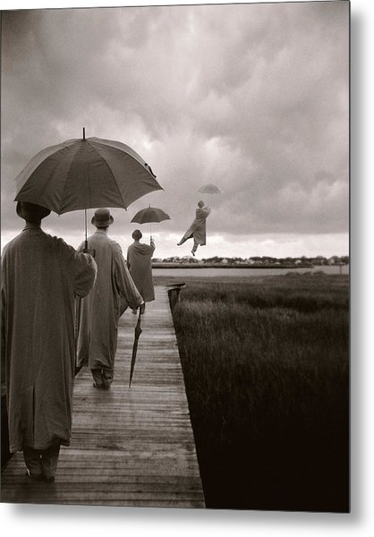 Men With Umbrellas Flying  Into Sky Metal Print by Bryce Lankard