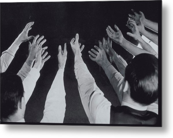 Mens Hands Reaching Out Into Blackness Metal Print