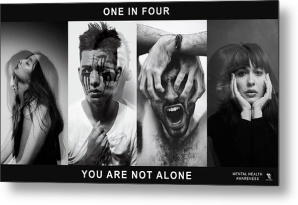 Metal Print featuring the digital art Mental Health Awareness - You Are Not Alone by ISAW Company