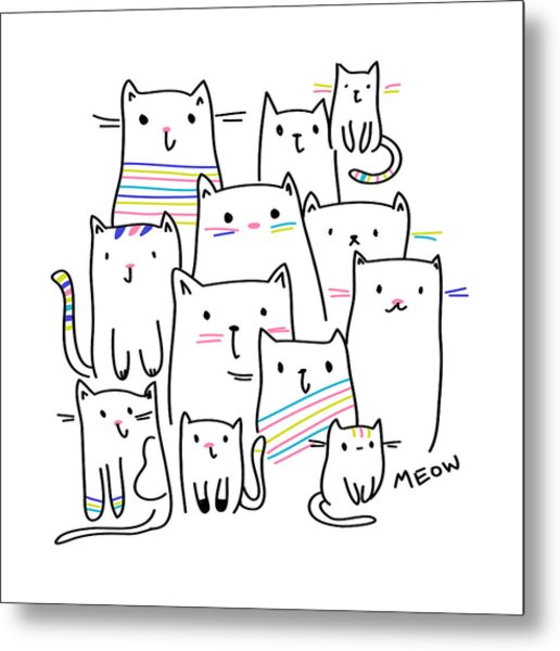 Meow Kitties - Baby Room Nursery Art Poster Print Metal Print