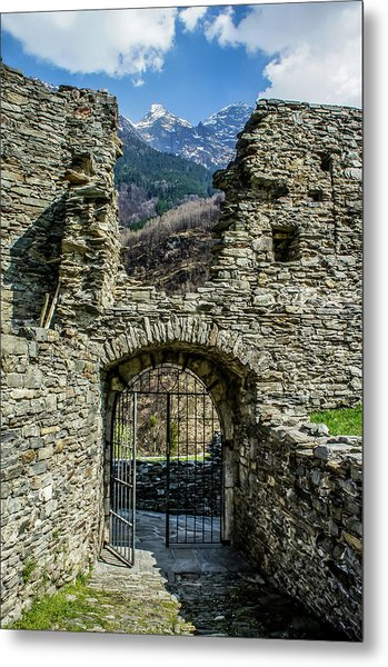 Metal Print featuring the photograph Mesocco Castle Gate With Mountains by Dawn Richards