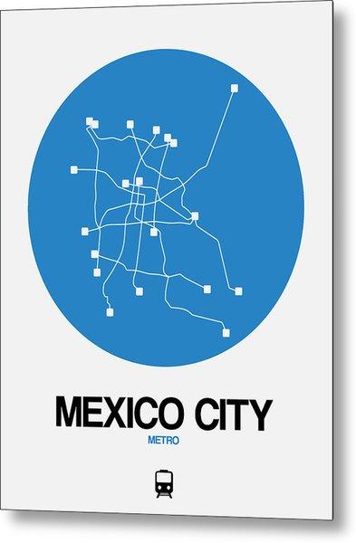 Mexico City Blue Subway Map Metal Print