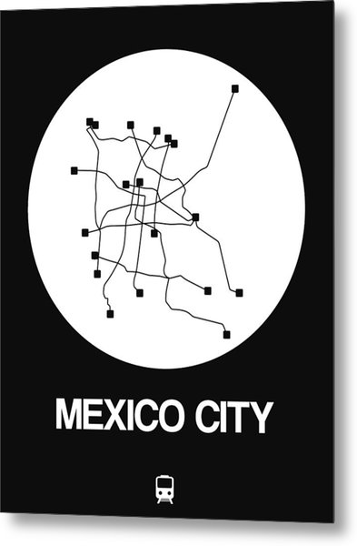 Mexico City White Subway Map Metal Print