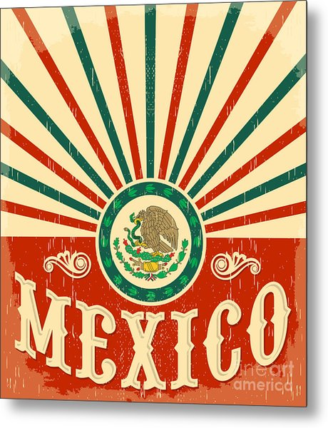 Mexico Vintage Patriotic Poster - Card Metal Print