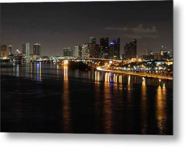 Miami Lights At Night Metal Print