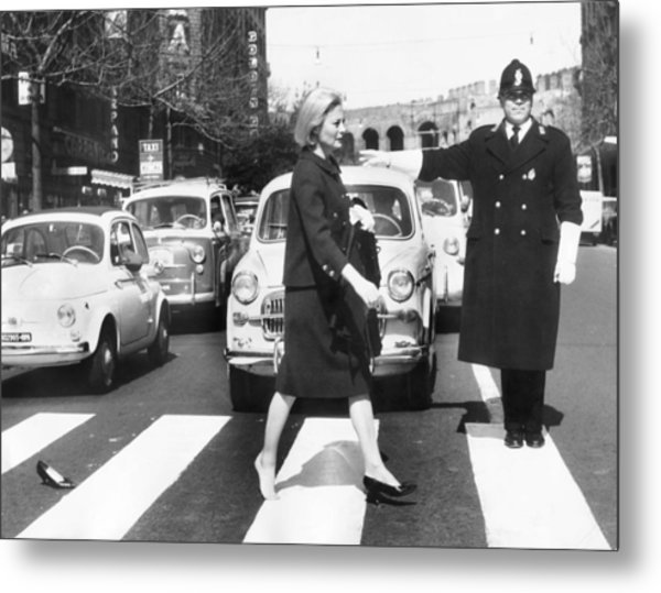 Michele Morgan Crossing A Street In Metal Print by Keystone-france