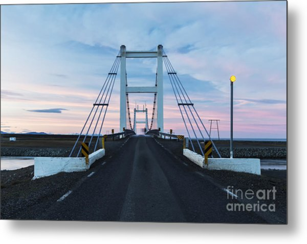 Midnight Photo Of The Bridge With The Metal Print