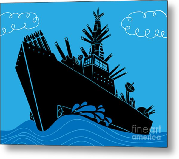 Military Ship With Guns Metal Print