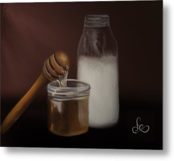 Metal Print featuring the painting Milk And Honey  by Fe Jones