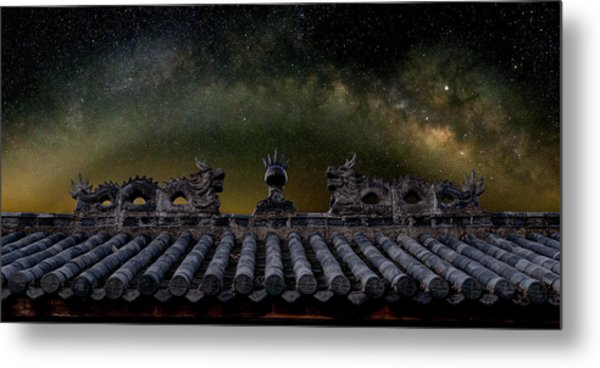 Metal Print featuring the photograph Milky Way Arch Over Chinese Temple Roof by William Dickman